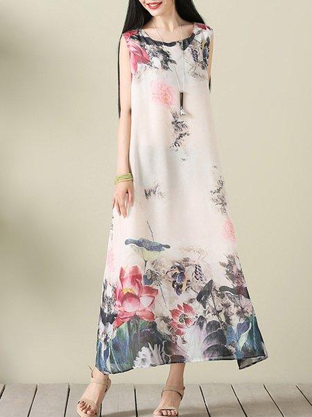 Tribal Floral-print Sleeveless Crew Neck Dress