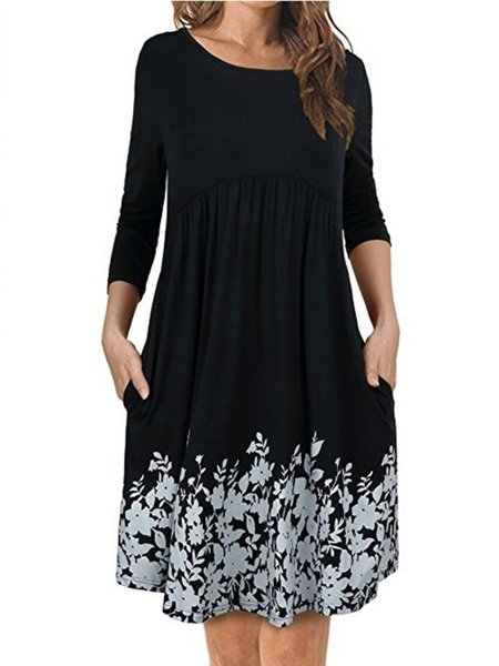 Cotton-blend Crew Neck Paneled Elegant Long Sleeve Dress