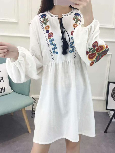 Crew Neck Long Sleeve Casual Cotton Embroidery Dress
