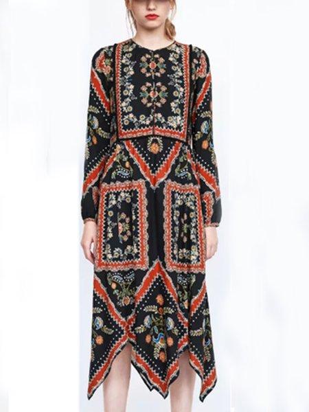 Gathered Vintage Long Sleeve Asymmetrical Dress