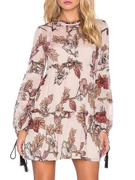 Long Sleeve Floral Stand Collar Gathered Elegant Dress