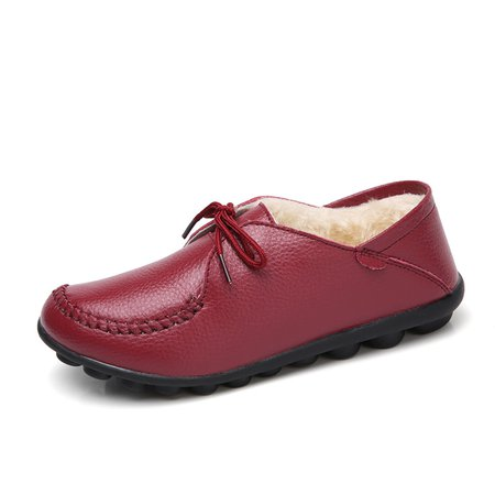Casual Flat Heel Fleece Lined Lace-up Loafers