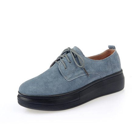 Lace-up Suede Casual Platform Loafers