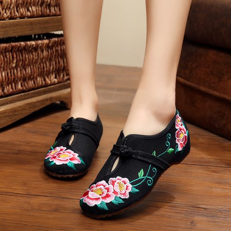 Floral Embroidered Button Casual Loafers