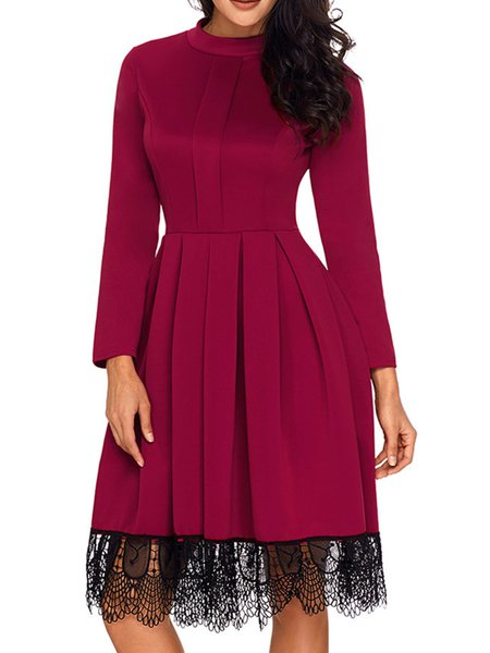 Stand Collar Solid Polyester Long Sleeve Casual Dress