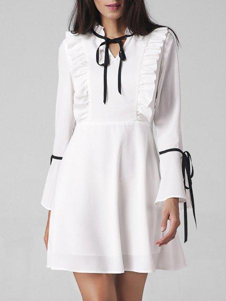 Elegant Bell Sleeve Stand Collar Solid Cotton-blend Dress