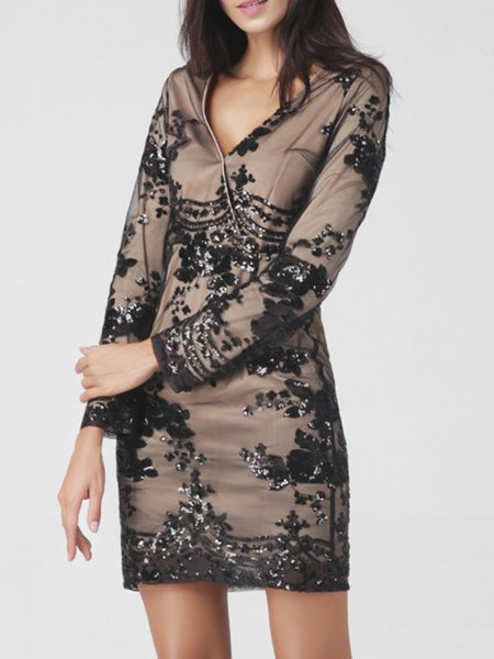 Long Sleeve Sheath Floral Embroidered Dress