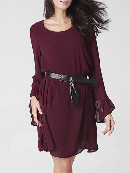 Burgundy A-line Bell Sleeve Solid Dress