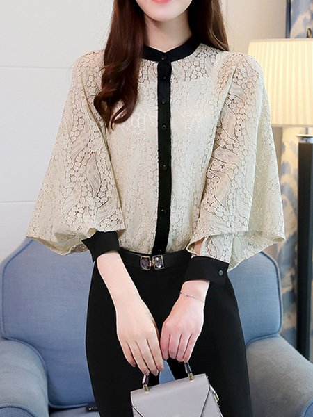 Long Sleeve Stand Collar Sweet Solid Blouse