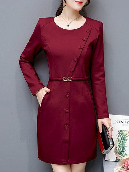 Crew Neck Elegant Cotton-blend Long Sleeve Buttoned Dress