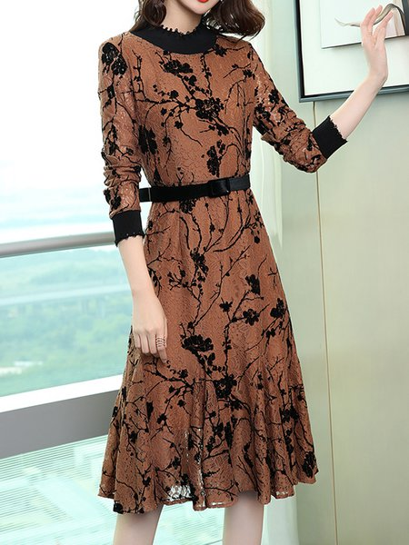 Stand Collar Long Sleeve Floral Elegant Dress