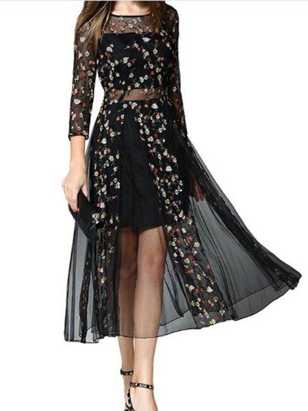 Black Crew Neck Floral Long Sleeve Dress