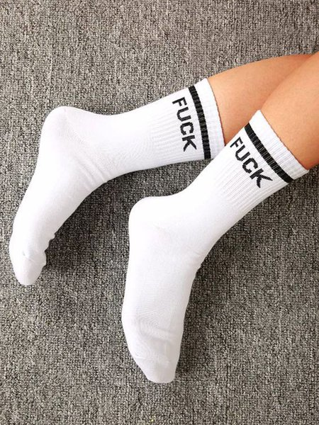 Casual Cotton-blend Letter Anti-Bacterial Sock