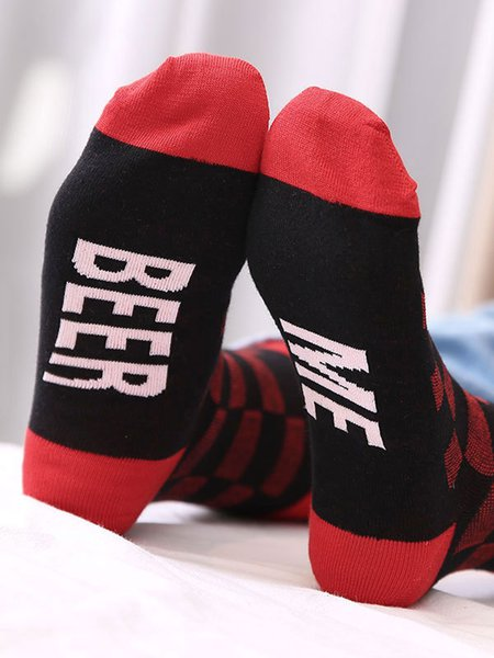 Checkered/Plaid Cotton-blend Casual Breathable Sock