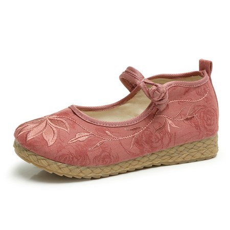 Flower Embroidery Button Strap Flats