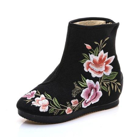 Flower Embroidery Wedge Heel Zipper Warm Boots