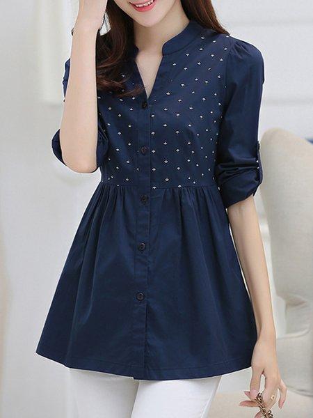 Cotton-blend Long Sleeve Buttoned Stand Collar Shirt