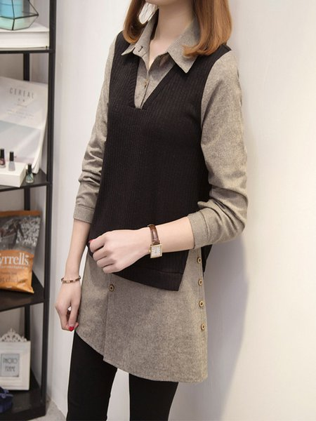 Gray Simple Cotton-blend Buttoned Shirt Collar Tunic Top