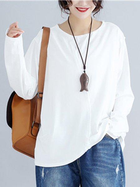 Black Crew Neck Cotton-blend Long Sleeve Solid T-Shirt