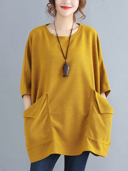 Cotton-blend Solid Crew Neck Batwing Tunic Top