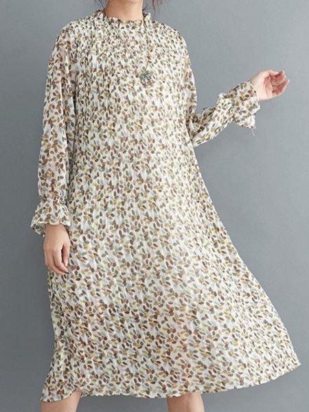 A-line Simple Long Sleeve Shirred Dress
