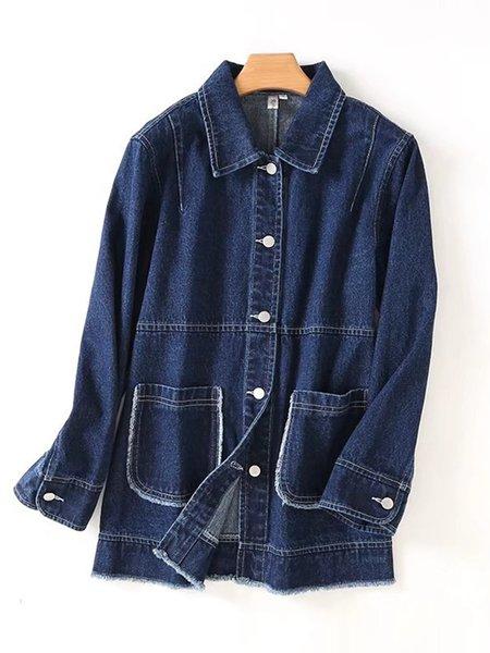 Solid Denim Long Sleeve Simple Jacket