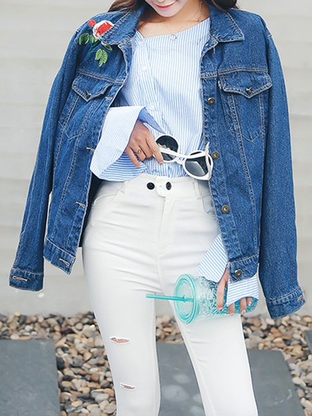 Blue Long Sleeve Denim Shirt Collar Jacket
