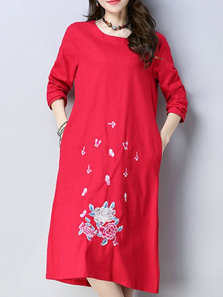 Long Sleeve Simple Linen Embroidered Shift Dress
