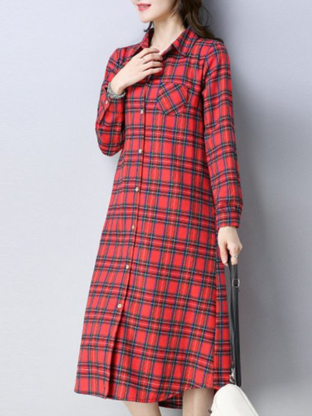 Cotton-blend Buttoned Long Sleeve Checkered/Plaid Dress