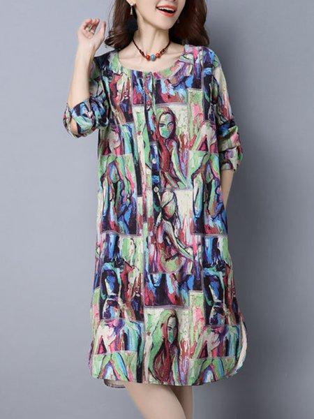 Multicolor Linen Casual Dress