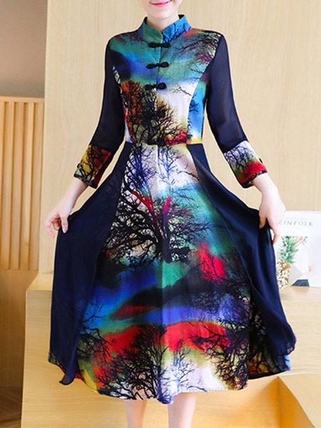 Blue Simple Printed A-line Floral Dress