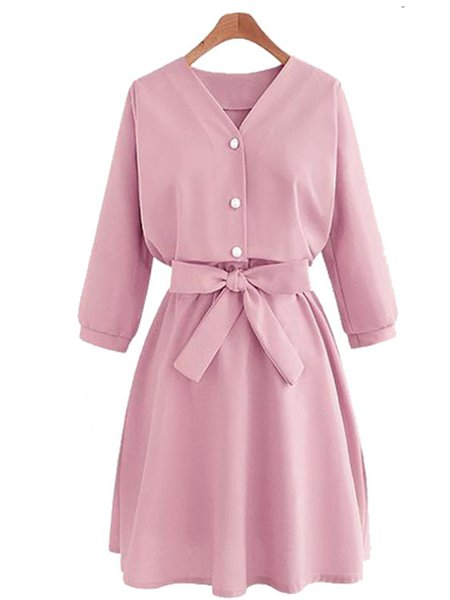 Buttoned Sweet Cotton-blend Dress