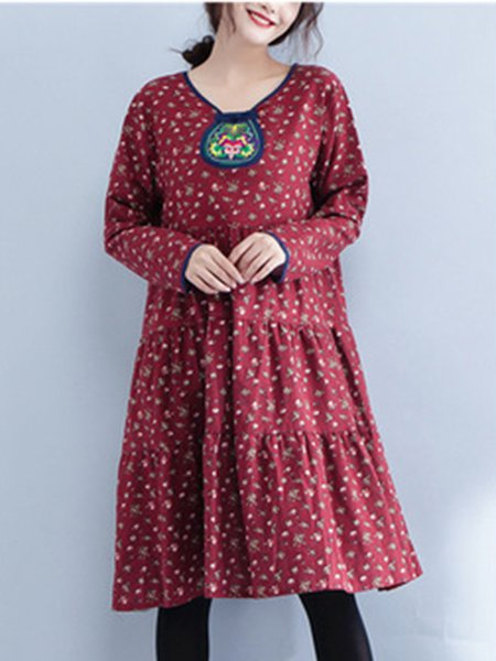 Casual Embroidered Cotton Long Sleeve Floral Dress
