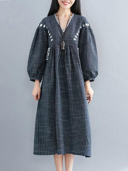 Long Sleeve Checkered/Plaid Casual Linen Dress