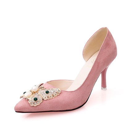 Rhinestone Butterfly Suede Party Pumps