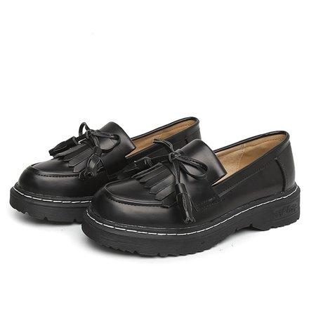 British Style Tassel PU Slip On Loafers