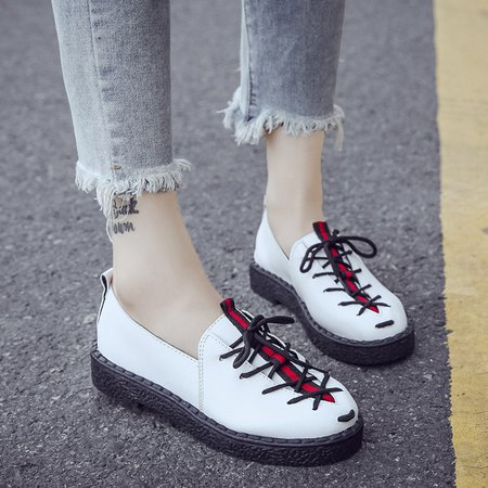 PU Lace-up Flat Heel Slip On Loafers