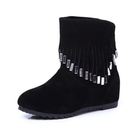 Fringed Suede Wedge Heel Slip On Boots