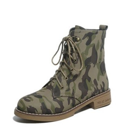 Camouflage Printed Low Heel Lace-up Martin Boots