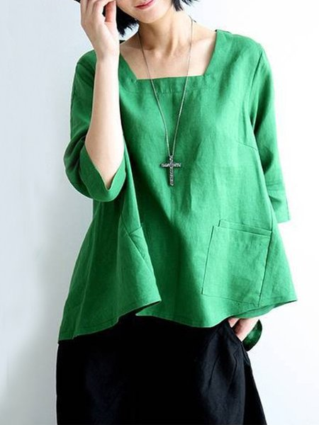 Solid Square Neck Casual Linen Long Sleeve Blouse