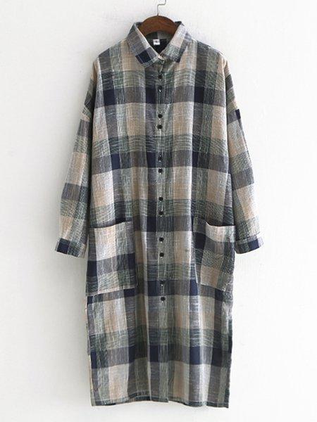 Casual Cotton-blend Checkered/Plaid Shirt