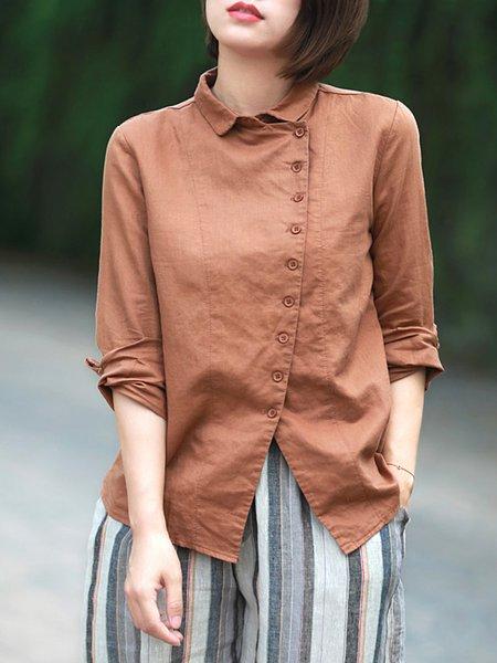Shirt Collar Long Sleeve Buttoned Shirt