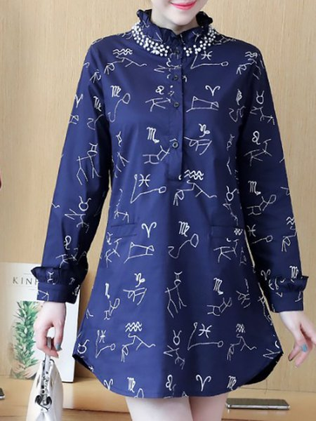 Casual Printed Stand Collar Tunic Top