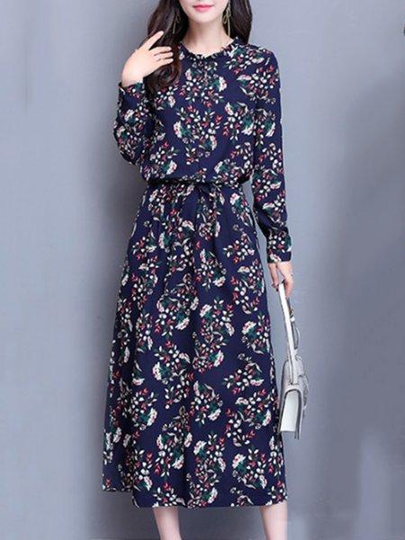 Cotton-blend Elegant Long Sleeve Floral-print Floral Dress