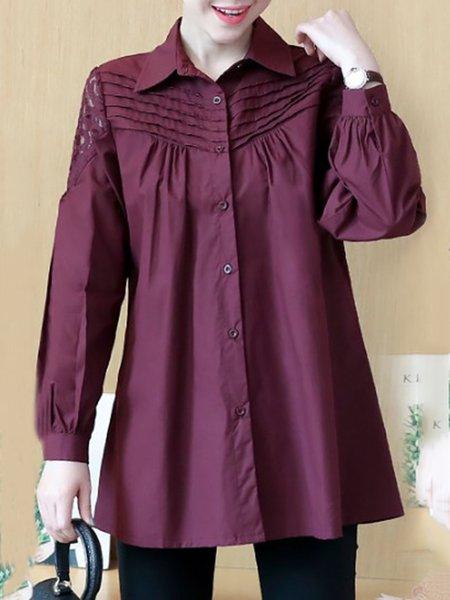 Long Sleeve Cotton-blend A-line Shirt Collar Shirt