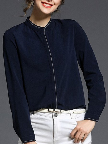 Blue Solid Casual Stand Collar Polyester Shirt