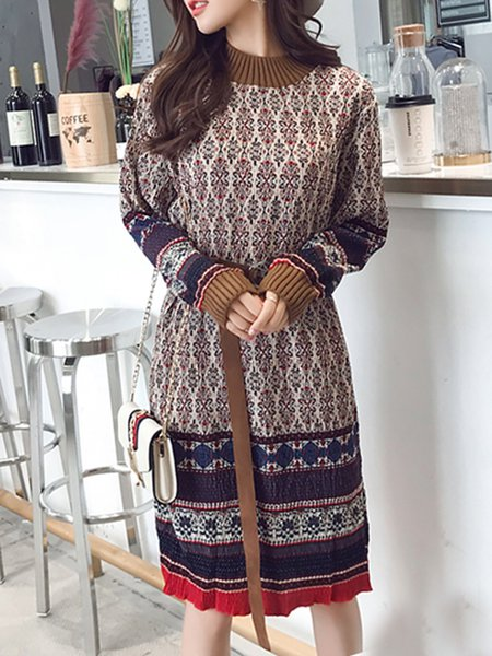 Crew Neck Casual A-line Printed Long Sleeve Dress