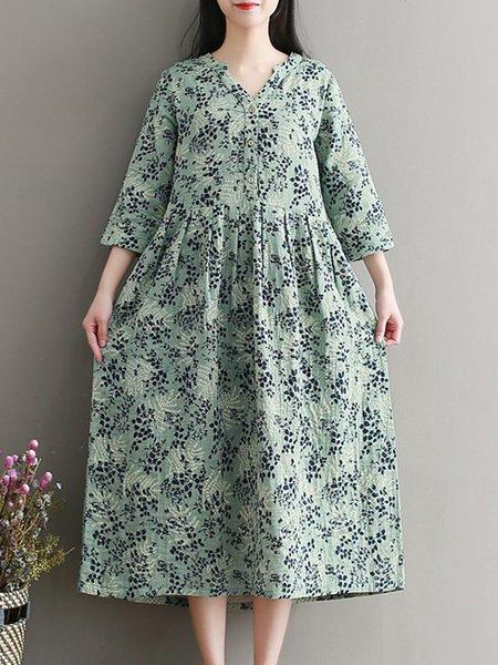 Light Green Floral-print Cotton-blend Long Sleeve Dress