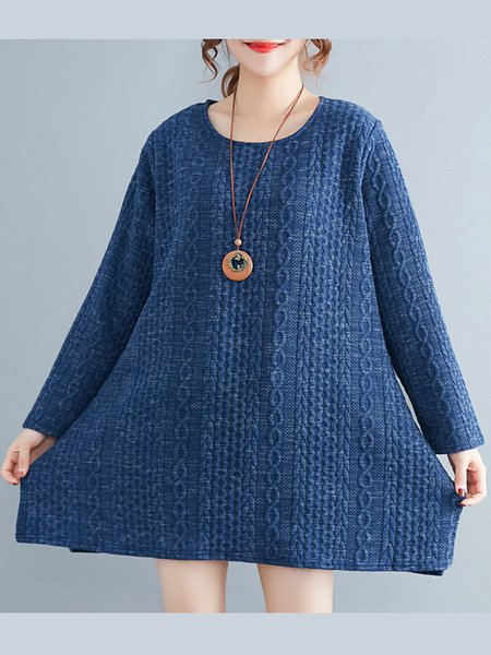 Simple Crew Neck Solid Knitted Long Sleeve Sweater