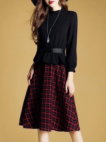 Cotton-blend Balloon Sleeve Elegant Checkered/Plaid Paneled Dress